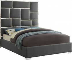 1pc Bed Chrome Metal Design Queen Size Bed Bedroom Furniture Gray Faux Leather