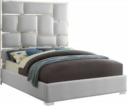 1pc Bed Chrome Metal Design Queen Size Bed Bedroom Furniture White Faux Leather