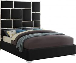 1pc Bed Chrome Metal Design Queen Size Bed Bedroom Furniture Black Faux Leather
