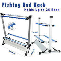 New Fishing Pole Holder 24 Rods Aluminum Alloy Stand Rack Portable Blue