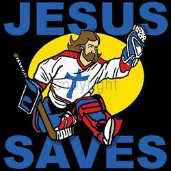 Jesus Saves Praise God Hockey Player Funny Religious Mens Size Graphic T-shirts