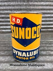 1950's Sunoco Dynalube Motor Oil Can 1 Qt. - Gas And Oil