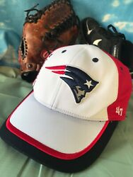 New England Patriots 47 Brand Large To Xl White Flex Fit Fitted Hat Cap H23