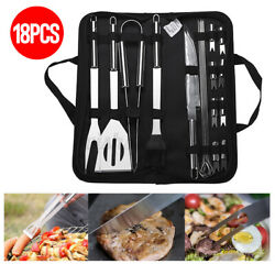 18 Piece Bbq Tools Set Stainless Steel Grill Cutlery Utensil Tong Set And Case Cn