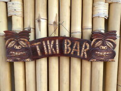 Tiki Bar Sign Rustic Wooden Wall Plaque 55cm Hand Painted Multi Listing.....