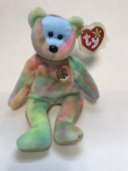 Ty Peace Beanie Baby Original, Retired, Rare Blue Face With Errors