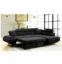Black Flannelette Fabric Couch Sectional Sofa Sleeper Pull Out Bed Cushion Sofa