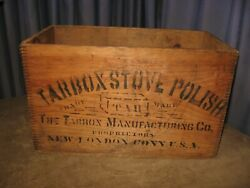 Rare Antique Wood Crate Tarbox Stove Polish 1800s New London Ct Dovetail Joints