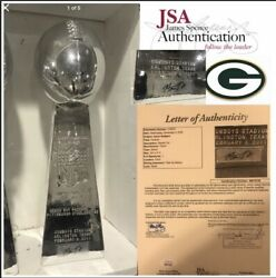 """Jsa Aaron Rodgers Signed 13"""" Nfl Lombardi Trophy Superbowl Champ Packers Mvp"""