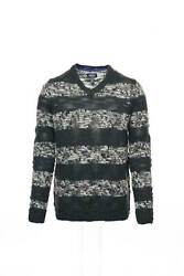 Kenneth Cole Reaction 'strike Bold' Gray Wide Striped V-neck Sweater