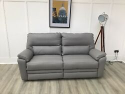 Parker Knoll Large 2 Seat Seater Power Reclining Sofa In Grey Leather Hampton