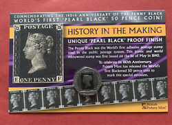 2020 Gibraltar 50p Coin 180th Anniversary Penny Black Stamp Bu Uncirculated