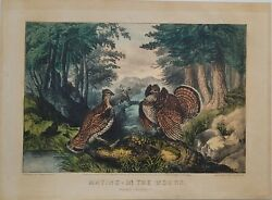 Currier And Ives Original Lithograph Mating In The Woods-small Folio