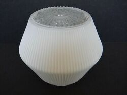 Vintage Mcm Pressed Glass Lamp/ Light Ceiling Shade Cover White Flashing 7x4
