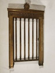 Antique 19th Century Ornate Brass Bank Teller Opening Window Grill With Lock