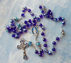 Blue Crystal And Lampwork Beads Rosaryenamel Crucifix And Centeritaly
