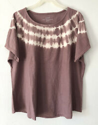 New Pure J. Jill 2x Tie-dyed Relaxed Tee S/s 100 Pima Cotton Top Purple