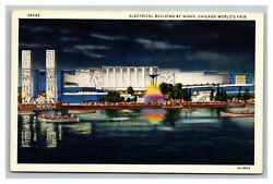 Vintage 1933 Postcard Electrical Building At Night At The Chicago Worldand039s Fair