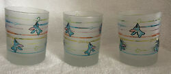 """3 Frosted Disney Lilo And Stitch Drinking Lowball Rocks Juice Glasses New 4"""""""