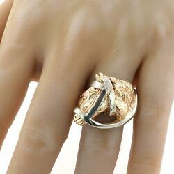 Horse Head Equestrian 14k Yellow Gold Manand039s Ring Diamond Size 11.5 24.3 Grams