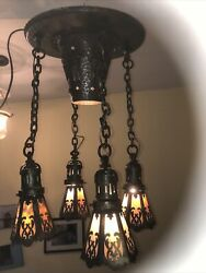 Circa 1900 Arts And Crafts Flush Mount Slag Glass Hammered Ceiling Fixture