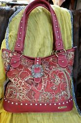 Montana West Red Brown Gold Tapestry Buckle Accent Rhinestones Zip Closure Nwt