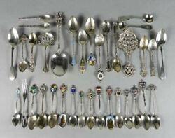 .800-.925 Silver And Enameled Souvenir Spoons Lot