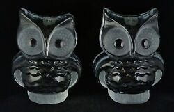 Pair Of Vintage Viking Glass Owl Bookends Mid Century Modern