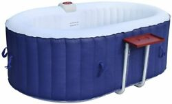 Aleko Htio2bld Oval Inflatable Hot Tub Spa With Drink 2 Person Oval Blue