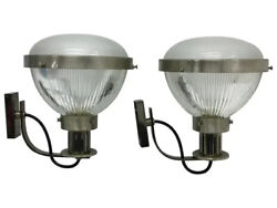 Mid-century Modern Metal And Glass Wall Sconces Attributed To Ignatius Gardella