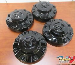 2020-2021 Ram 3500 Front And Rear Set Of 4 Black Wheel Center Caps For 17x6 Wheels