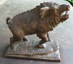Antique Black Forest Carved Boar Brienz C.1930and039s Austria Germany