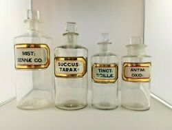 Antique Apothecary Bottle Collection Clear Ground Glass Stoppers Gold Foil Label