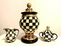 Mackenzie Childs Argyle Globe Canister Courtly Check W Frank And Mustard Design