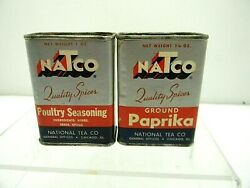Vintage Natco Cardboard Spice Tin Can Ground Paprika Poultry Seasoning Lot Of 2