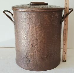 Antique Forged Hammered Copper Soup Stock Pot With Lid Over 18lbs Arts And Crafts