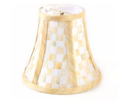 Mackenzie Childs Parchment Check Upscale Round Lamp Chandelier Shade New M21-jn