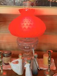 Large Fenton Glass Ruby Red Parlor Lamp With Amberina Ribbon