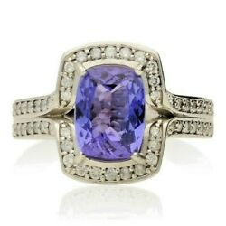 Pre-owned 18ct White Gold Tanzanite And Diamond Cluster Ring.