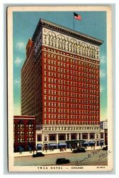 Vintage 1938 Postcard Antique Cars In Front Of The Ymca Hotel Chicago Illinois