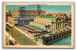 Vintage 1940 Postcard Antique Cars In Front Of Union Station Chicago Illinois