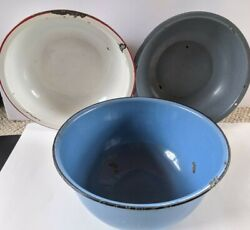 3 Vintage Large Enamel Ware Farm House Round Bowls Blue, White With Red, Gray