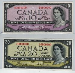 Canada 1954 Deviland039s Face 10 And 20 - Ch-unc - Matching Low Serial And039s. 300 -