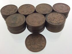 Lot Of 50 Canada 1948 One 1 Cent Penny Km 41 Circulated George Vi Coin V484