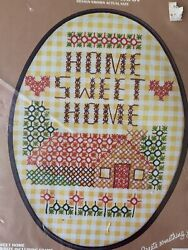 Home Sweet Home Country Chicken Scratch Kit with Frame Vogart NIP 6x8.25 Gingham