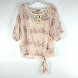 Democracy Floral Lace Ringer Top Womenand039s Pink 2 Layer Nwt Small