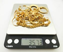 14k Gold Scrap Lot Broken Bits Without Stones 35g Weight