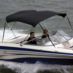 Shademate Ov80215or Black 3 Bow6andrsquolx36andrdquohx79-84andrdquow Poly Bimini Top And Boot Only New