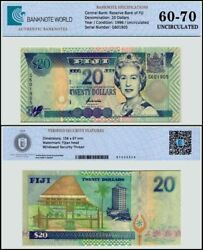 Fiji 20 Dollars Banknote 1996 Nd P-99a Unc Tap 60-70 Authenticated