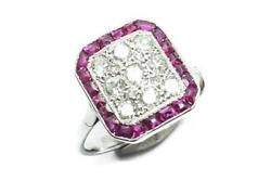 Beautiful Antique Art Deco18k White Gold Ruby And Diamond Pave Panel Ring C1920